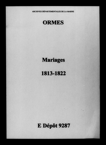 Ormes. Mariages 1813-1822