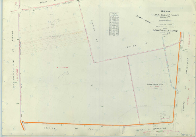 Tilloy-et-Bellay (51572). Section ZE échelle 1/2000, plan remembré pour 1963 (extension Somme-Vesle section ZS), plan régulier (papier armé)