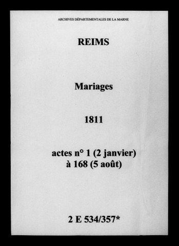 Reims. Mariages 1811
