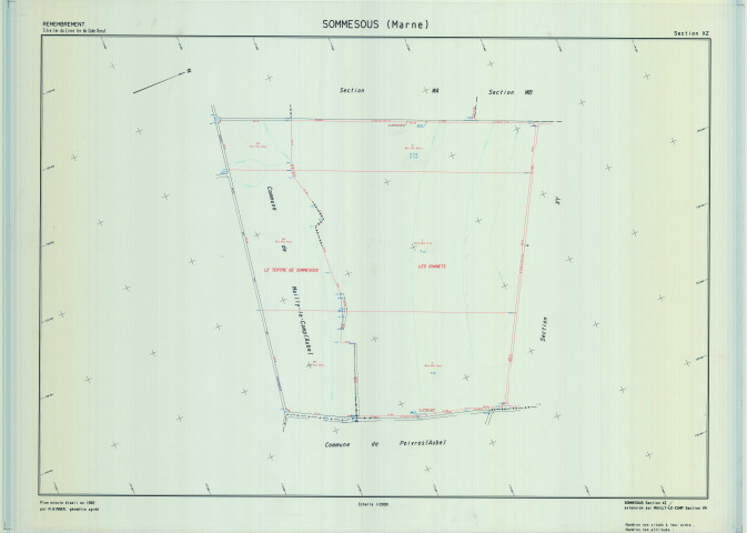 Sommesous (51545). Section XZ échelle 1/2000, plan remembré pour 1991 (extension Mailly-le-Camp section YM), plan régulier (calque)