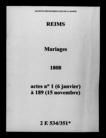 Reims. Mariages 1808