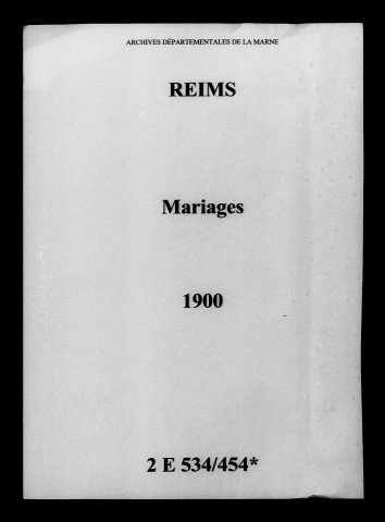 Reims. Mariages 1900