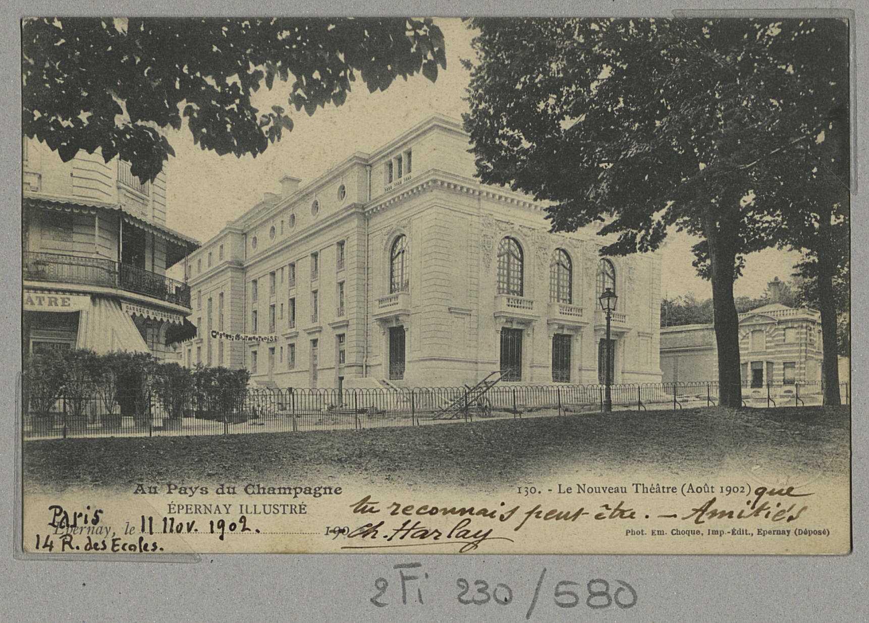 ÉPERNAY. Au pays du Champagne. Épernay illustré - Le nouveau théâtre (août 1902). Epernay E. Choque (51 - Epernay E. Choque). [vers 1902]