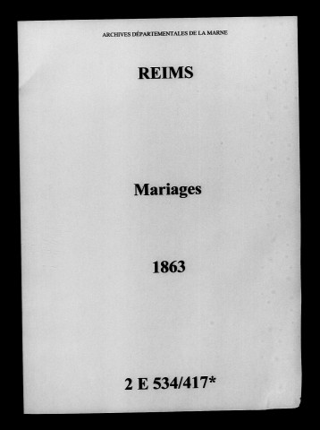 Reims. Mariages 1863
