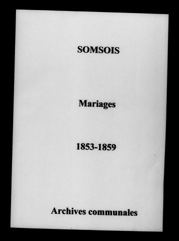 Somsois. Mariages 1853-1859
