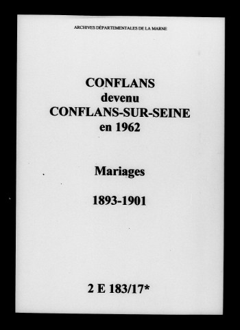 Conflans. Mariages 1893-1901