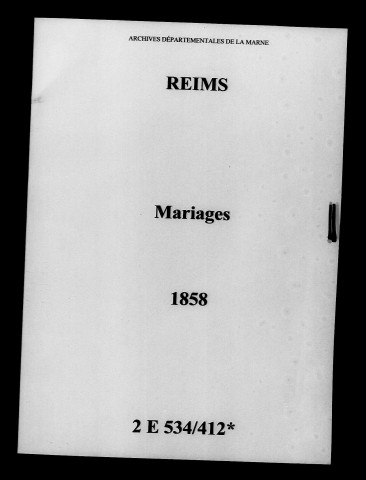 Reims. Mariages 1858