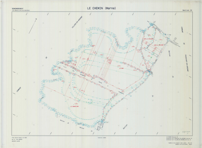 Chemin (Le) (51143). Section ZK 2 échelle 1/2000, plan remembré pour 2005 (extension sur Villers-en-Argonne section ZC, Passavant en Argonne section ZA), plan régulier (calque)
