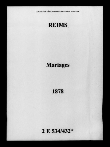 Reims. Mariages 1878