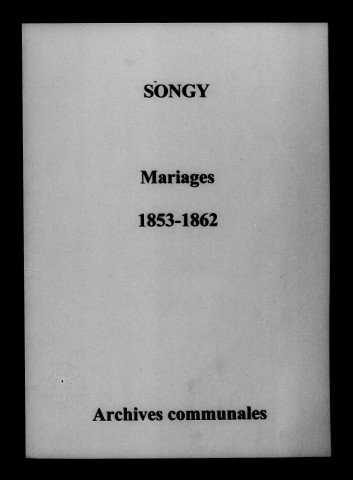 Songy. Mariages 1853-1862
