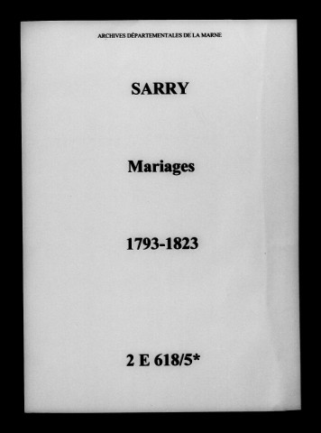 Sarry. Mariages 1793-1823