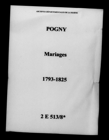 Pogny. Mariages 1793-1825