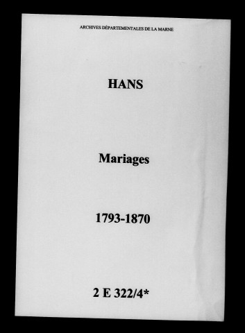 Hans. Mariages 1793-1870