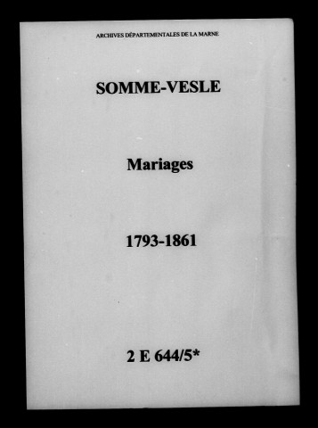 Somme-Vesle. Mariages 1793-1861
